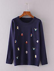 Damen Kurz Pullover-Lässig/Alltäglich Einfach Druck Blau / Rot / Schwarz / Grau Rundhalsausschnitt Langarm Baumwolle Herbst Dünn