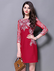 Boutique S Women's Formal Chinoiserie / Sophisticated Sheath DressEmbroidered Round Neck Above Knee  Sleeve