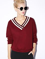 nouvelle avant occasionnel / journalier simple régulière hoodiessolid bleu / rouge col v / noir à manches longues pour femmes