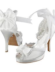 Damen-High Heels-Hochzeit / Party & Festivität / Kleid-Stretch - Satin-Stöckelabsatz-Absätze / Plateau-Elfenbein