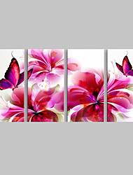 E-HOME® Stretched Canvas Art  Red Butterfly And Flowers Decoration Painting  Set of 4