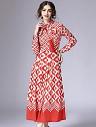 Feminino Camisa Vestido,Informal estilo antigo Geométrica Colarinho de Camisa Longo Manga Longa Vermelho Algodão / Poliéster Primavera