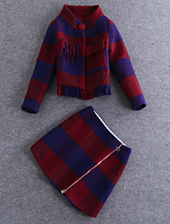 Boutique S Women's Going out Vintage Winter Set SkirtPlaid Stand  Sleeve Red Wool / Cotton Medium