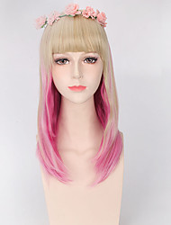 Color Mixed Pink and Blonde Fashion Lolita Cosplay Party Wigs Lovely Style for Girl Natural Looking Hairstyle