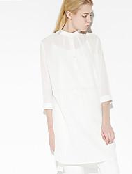c + impressionner femmes sortant sophistiquée position dresssolid lâche au-dessus du genou manches coton blanc / rayonne printemps