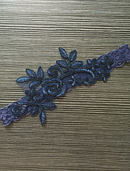 Подвязка Стреч-сатин Кружева Цветок Синий