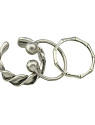 Silver Plated Cuff Fingers Rings Set for Ladies