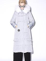 nouvelle avant impression de gris des femmes verte vers le bas coatsimple / chinoiserie à capuche manches / long