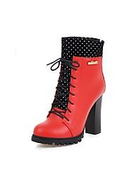 Damen-Stiefel-Lässig-PU-Blockabsatz-Modische Stiefel-Schwarz / Rot / Weiß