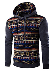 Men's Print / Color Block Casual / Sport HoodieCotton Long Sleeve Black / Blue / Gray