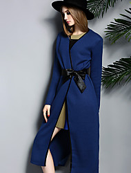 Women's Going out / Casual/Daily / Formal Simple CoatSolid V Neck Long Sleeve Fall / Winter Blue