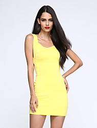 Women's Sexy V Neck Backless Bodycon Mini Dress