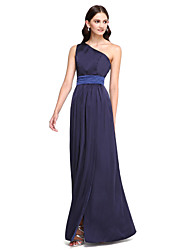 2017 Lanting Bride® Floor-length Satin Chiffon Elegant Bridesmaid Dress - One Shoulder with Sash