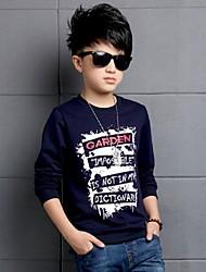 Casual/Dagelijks-Print-Katoen-Winter-Boy's-T-shirt-Blauw / Rood