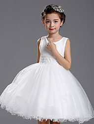 A-line Knee-length Flower Girl Dress - Cotton / Satin / Tulle Sleeveless Jewel with Pearl Detailing / Ruffles