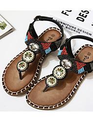 Women's Sandals Spring Fall Comfort PU Outdoor Flat Heel Flower Black Brown Others