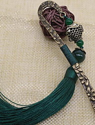 Exquisite Classical Chinese Style Metal Bookmark Tassel Cute Student Stationery Gifts Agate Antiquity