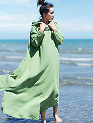 Ramie Cotton Women's Casual/Daily Simple Loose DressSolid Hooded Maxi Long Sleeve Blue / Red / White / Green