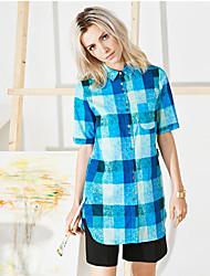 Women's Going out Cute Summer ShirtPlaid Shirt Collar Short Sleeve Blue Cotton Medium