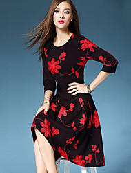 Women's Going out / Formal / Party/Cocktail Cute / Street chic A Line / Sheath DressFloral  Knee-length  Sleeve Black