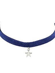 Femme Collier court /Ras-du-cou Tissu Alliage Mode Bohême Personnalisé Bleu Bijoux Pour Soirée Quotidien Décontracté 1pc
