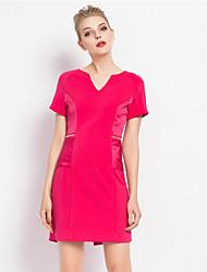 MASA  Women's Work Simple Sheath DressSolid V Neck Above Knee Short Sleeve Blue / Pink Polyester Summer / Fall