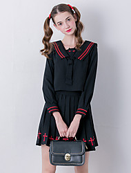 Linjou Women's Going out Cute All Seasons Set SkirtEmbroidered V Neck Long Sleeve Black Polyester