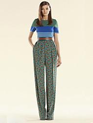Set Pantalon Costumes Femme,Mosaïque Décontracté / Quotidien simple Eté Manches Courtes Col Arrondi Bleu Polyester Moyen