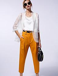 Pantalon Aux femmes Mince simple Coton / Rayonne / Nylon / Spandex Micro-élastique