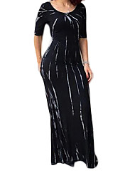 Women's Going out / Party/Cocktail / Club Sexy Bodycon DressStriped Round Neck Maxi  Length Sleeve Black