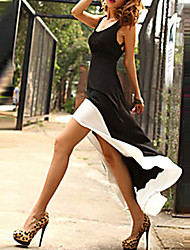 Women's Patchwork Black/White Dress,Casual Deep U Sleeveless Backless