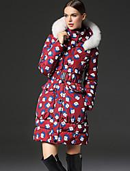 frmz женщин печати вниз красный coatchinoiserie с капюшоном с длинным рукавом
