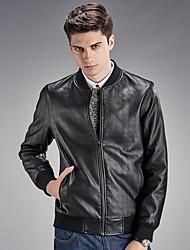 Men's Long Sleeve Casual / Sport JacketPU / Polyester Solid Black / Blue / Brown
