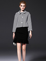 FRMZ  Going out Sophisticated Spring / Fall JacketsCheck Shirt Collar Long Sleeve Gray Polyester Medium