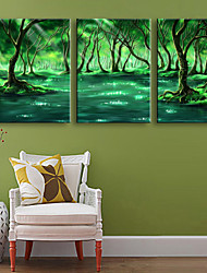 E-HOME® Stretched LED Canvas Print Art Green Forest Between The River LED Flashing Optical Fiber Print Set of 3