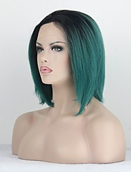 Bob Straight Synthetic Wigs Lace Front Wigs Black And Green Heat Resistant Hair Wigs  for Women
