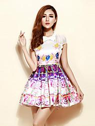 Mujer Línea A Vestido Noche Bonito,Floral Escote Chino Sobre la rodilla Manga Corta Morado Algodón / Poliéster Verano Tiro Alto Rígido