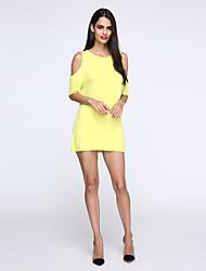 Women's White/Black/Yellow Round Neck Dress, Chiffon Above Knee Short Sleeve