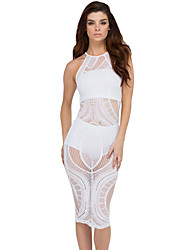 Women's Net-working Sheer Bodycon Midi Dress