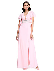 Lanting Bride® Floor-length Chiffon Bridesmaid Dress - Beautiful Back / Furcal Sheath / Column V-neck withBeading / Crystal Detailing / Sash