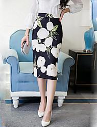 Women's Floral Blue SkirtsStreet chic Knee-length