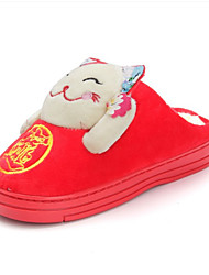 Women's Slippers & Flip-Flops Winter Flats Customized Materials Casual Flat Heel Others Pink Red Others