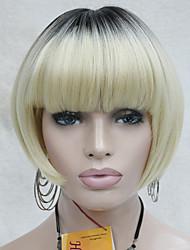 chaleur ok blonde ombre synthétique avec des racines sombres bob style de champignons perruque courte