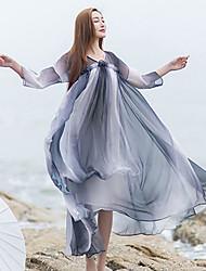 Ample Robe Femme Vacances simple,Couleur Pleine Col en V Mi-long Manches ¾ Gris Autres Eté Taille Normale Non Elastique Moyen