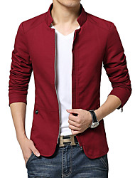 Men's Long Sleeve Casual / Work / Formal JacketCotton Solid Black / Blue / Brown / Red / Beige