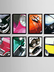 E-HOME® Framed Canvas Art, Retro Car Headlights Logo Framed Canvas Print One Pcs