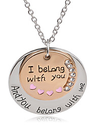 "New 2016 Design Word ""I Belong With You""Coin Double Round Pendant Necklace For Boyfriend Girlfriend Gifts Men Jewelry"