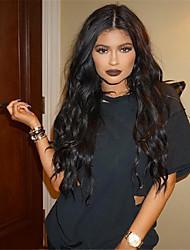 Onda da moda natural natural cor preta brasileiro do cabelo humano peruca dianteira do laço glueless virgem com cabelo do bebê