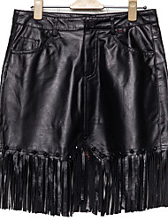 Women's Solid Black Leather Skirts Punk & Gothic / Sophisticated Mini 7711