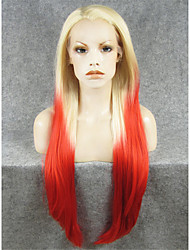IMSTYLE 30 Extra Long Blonde Red Ombre Straight Synthetic Lace Front Wigs Heavy Density